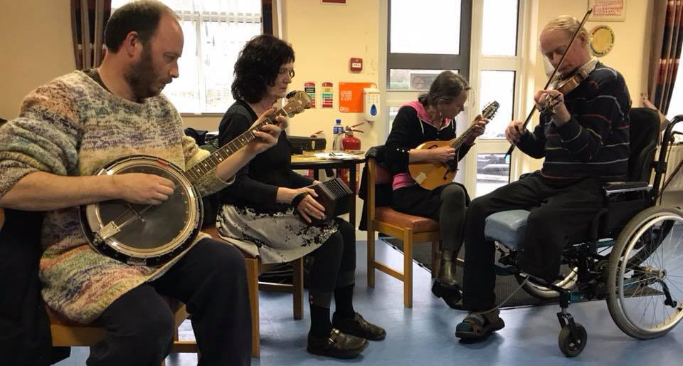 A traditional music session at the Collooney Daycare centre in County Sligo.