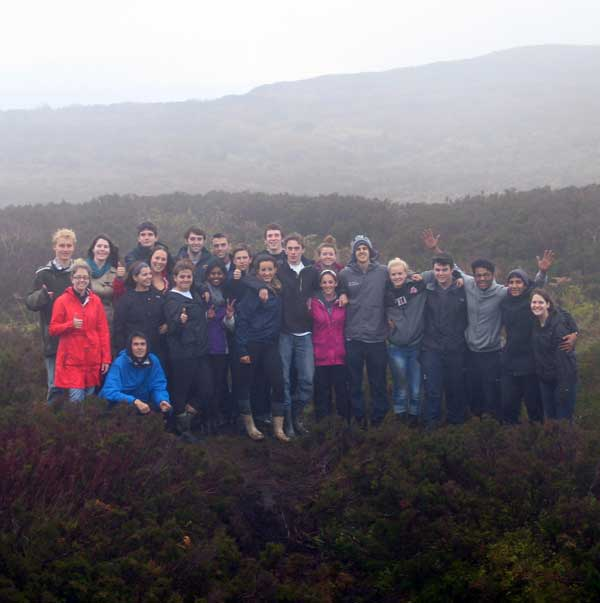 Students from the USA at the Poulnagollum cave, Carrowkeel.