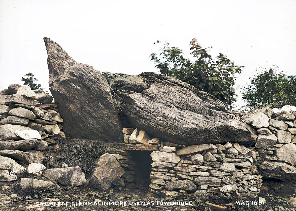 A dolmen reused as a hen-house in County Donegal.