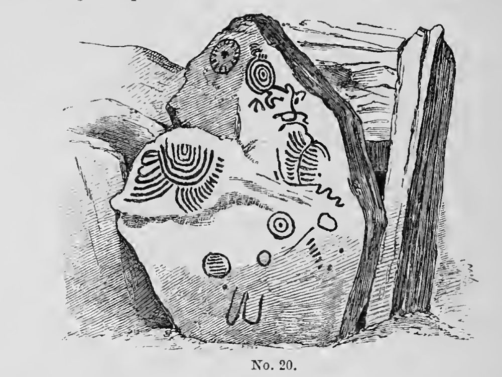 Carved chamber-stone within Cairn T at Loughcrew.