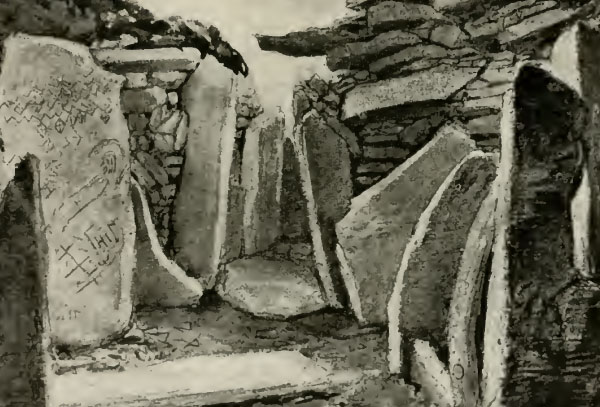 Cairn L at Loughcrew, illustration from Rude Stone Monuments by W. G. Wood-martin.