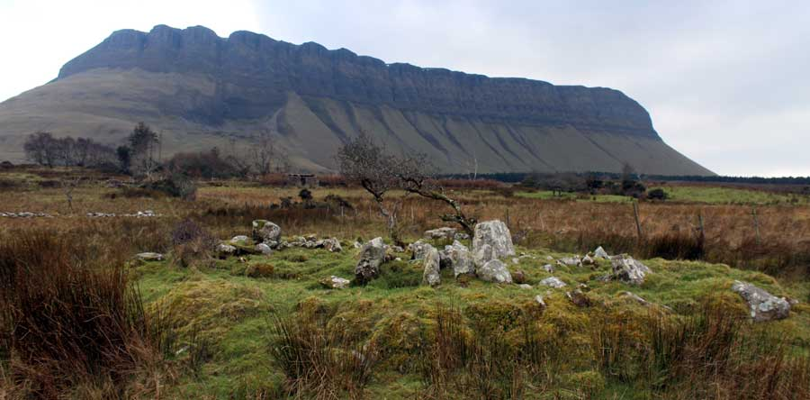 Ardnaglass megalithic monument and Benbulben.